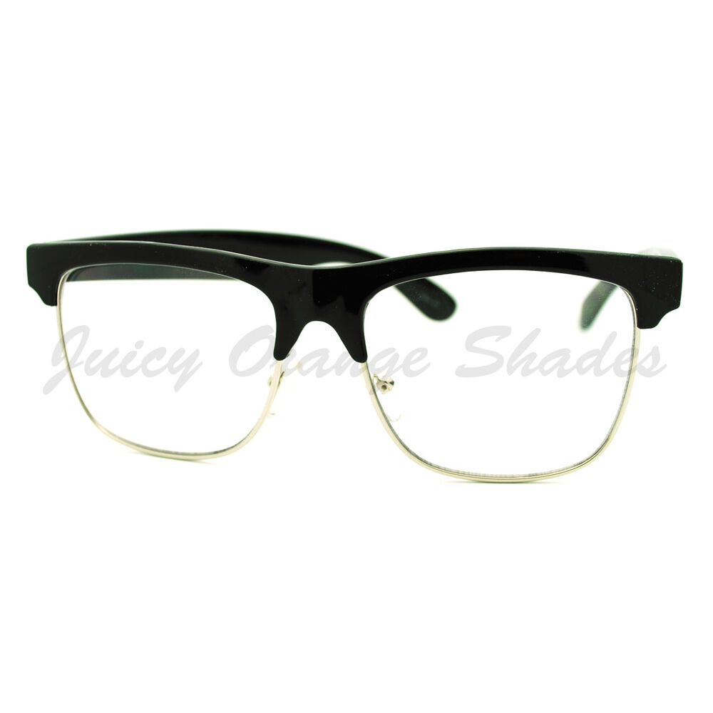 Half Frame Square Glasses : Clear Lens Glasses Square Half Rim Modern Smart Look ...