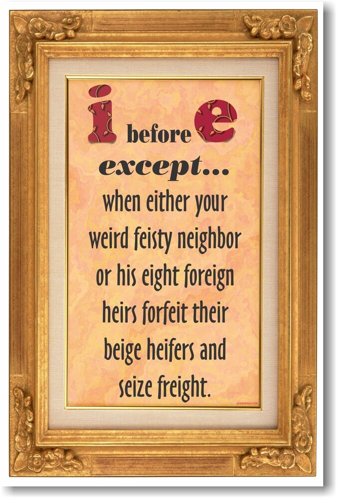 Before e except new humorous classroom poster ebay