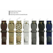 Women's Leather Covered Buckle Woven Elastic Stretch Belt, 1-1/4
