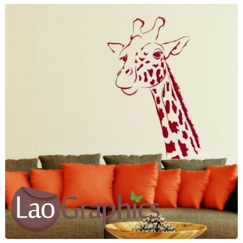 huge giraffe head - animal vinyl decal / wall decor / animal wall