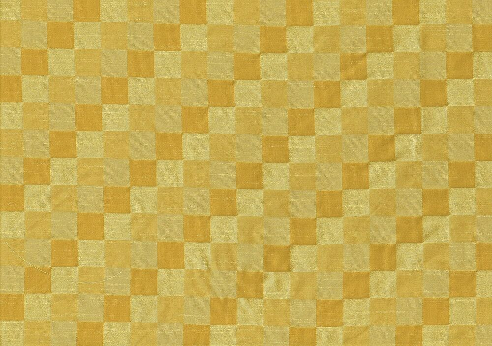 Designer fabric gold checked poly silk drapery upholstery for Designer fabric store