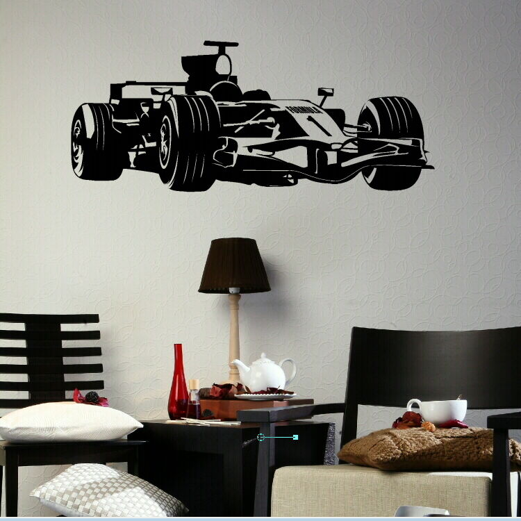 Formula one 1 boys wall sticker wall vinyl art large for Boys wall art