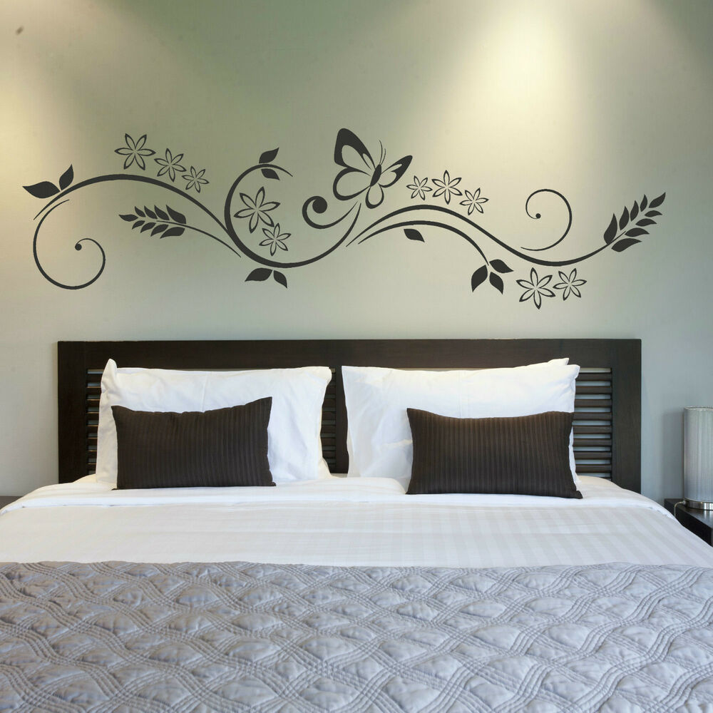 90 X 22 Large Vine Butterfly Wall Decals Removable: Floral Wall Transfer / Large Flower Wall Sticker Butterfly
