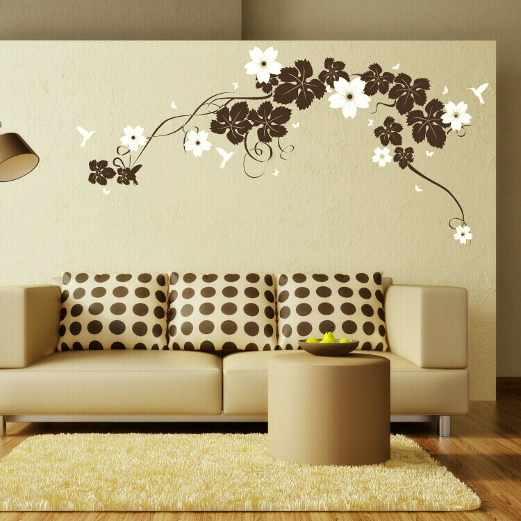 Interior Design Furniture Stencils ~ Large vine flower wall sticker interior decor