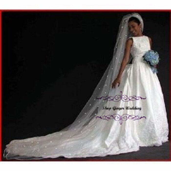 ... Royal Crystal Pearl Wedding Bridal Veil White Diamond Ivory | eBay