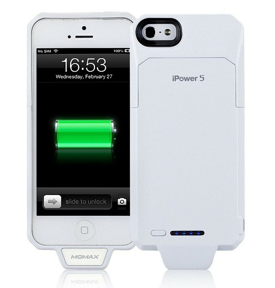 momax ipower 5 2250mah extended battery charging case for apple iphone 5 white ebay. Black Bedroom Furniture Sets. Home Design Ideas