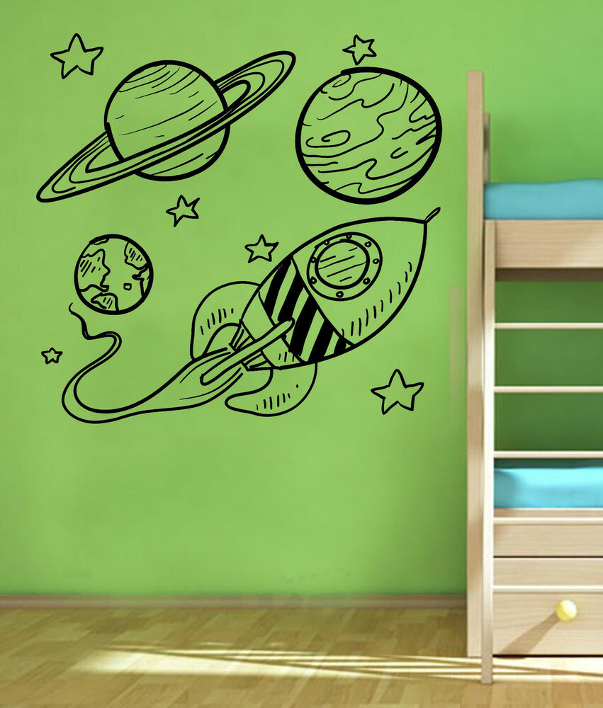 space planets rockets wall art children bedroom vehicle. Black Bedroom Furniture Sets. Home Design Ideas