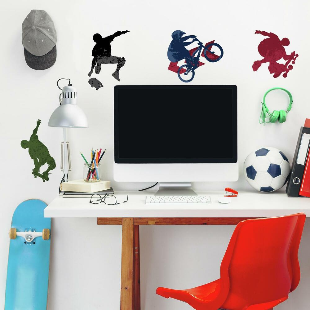 25 new extreme sports wall decals skateboarding biking stickers boys room decor ebay - Boys room decor ...