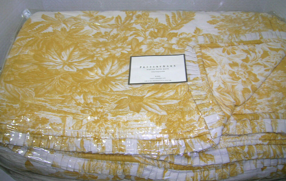 Pottery Barn Sunflower Yellow Matine Toile King Quilt Ebay