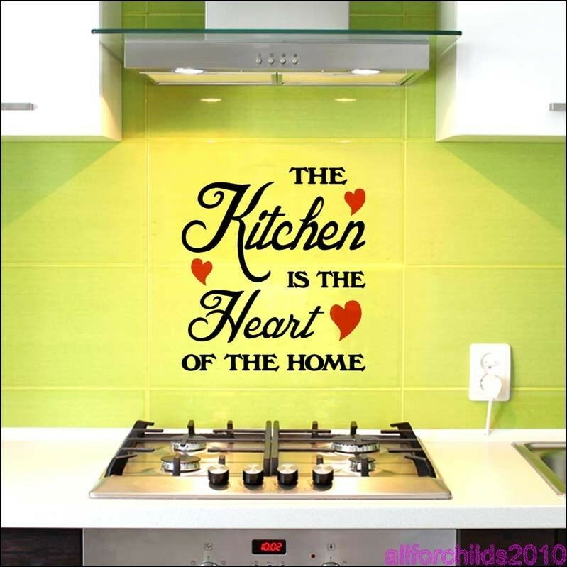 the kitchen is the heart of the home wall sticker art decor kitchen decal s4 ebay. Black Bedroom Furniture Sets. Home Design Ideas