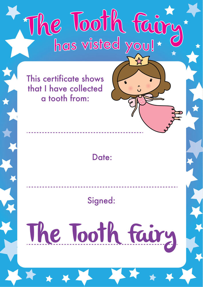 free printable tooth fairy certificate template - 8 a6 tooth fairy certificates reward parents children