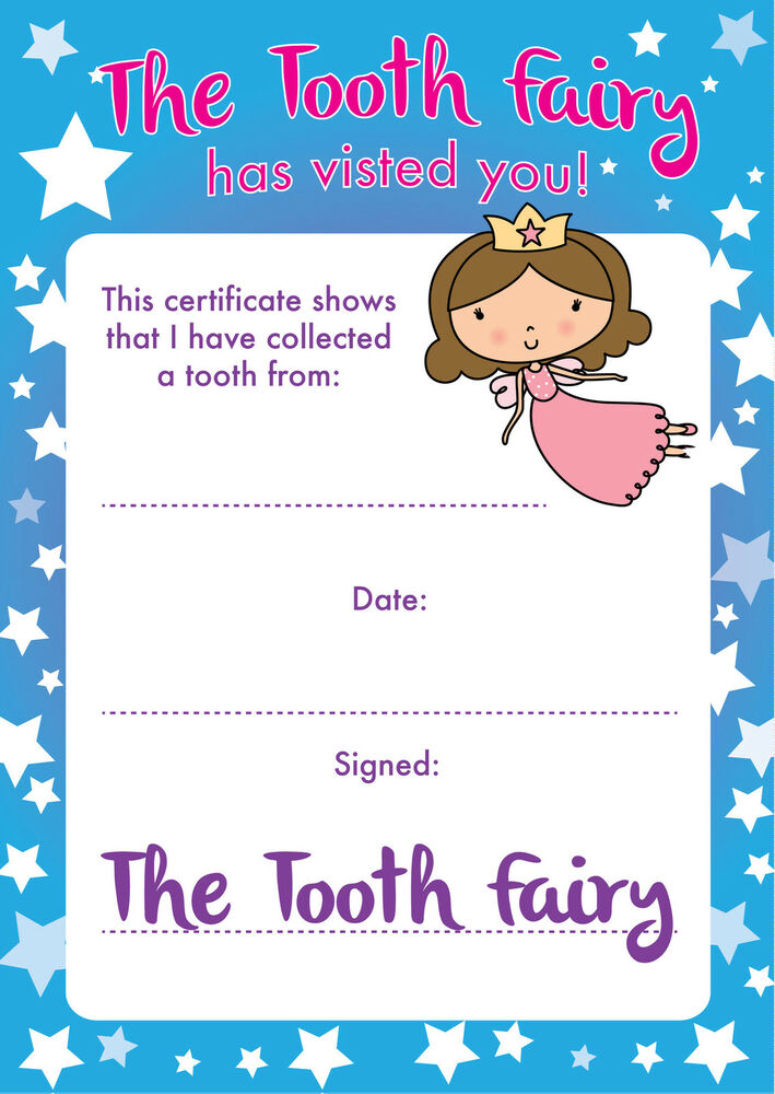 8 a6 tooth fairy certificates reward parents children for Free printable tooth fairy certificate template