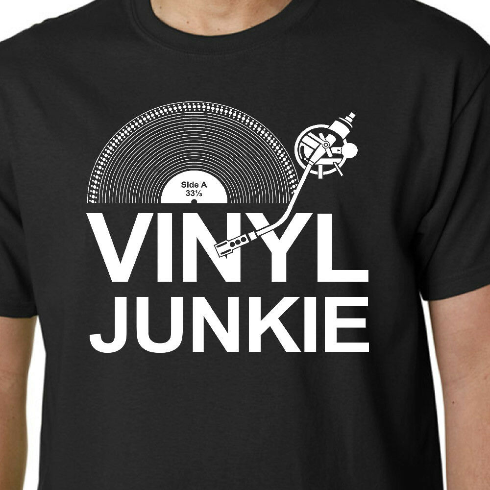 Vinyl Junkie T Shirt Music Lp Records Dj Turntable Crate