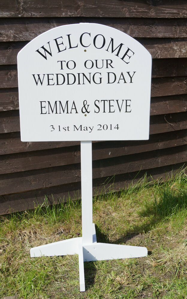 Wooden Wedding Sign Large Personalised Vintage Sign Free Standing