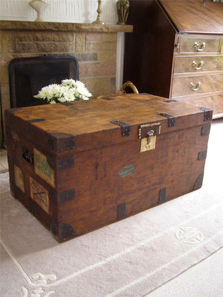Antique Vintage Wooden Steamer Trunk Suitcase Coffee Table Blanket Box Ebay