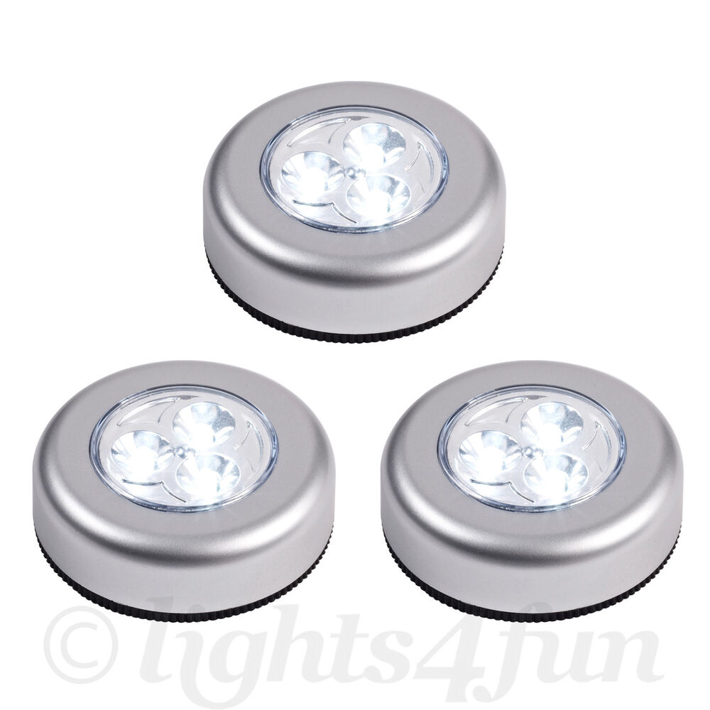 set of 3 round led battery operated stick on under cabinet cupboard push lights 5055526589923 ebay. Black Bedroom Furniture Sets. Home Design Ideas