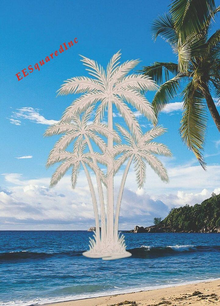New Oval 21x33 Palm Trees Window Cling Etched Glass Look