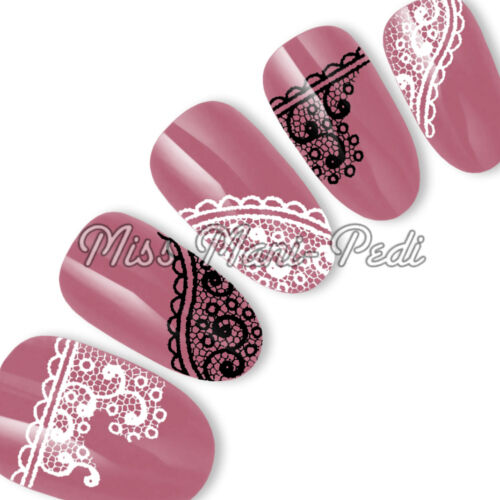 Nail Art Water Transfers Stickers Wrap Decals Black White