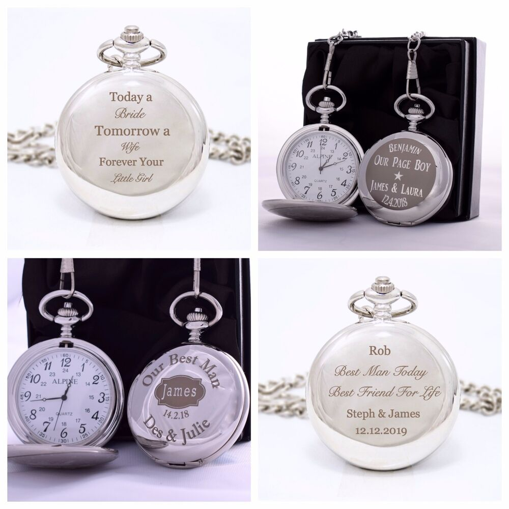 Personalised Pocket Watch SILK GIFT BOX Page Boy/Best Man