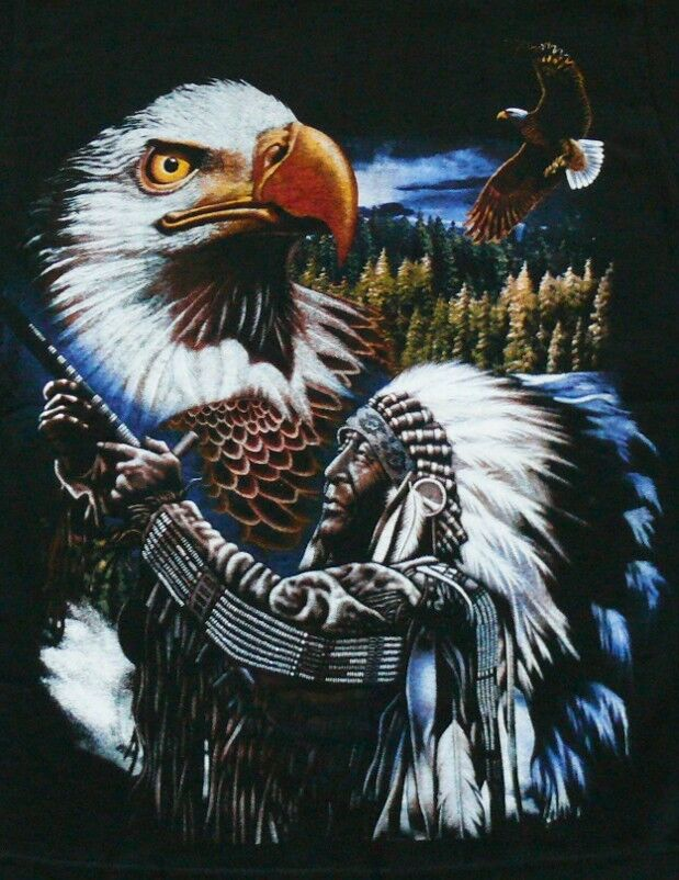 t shirt adler indianer gr s m l native h uptling western reiter biker cowboy ebay. Black Bedroom Furniture Sets. Home Design Ideas