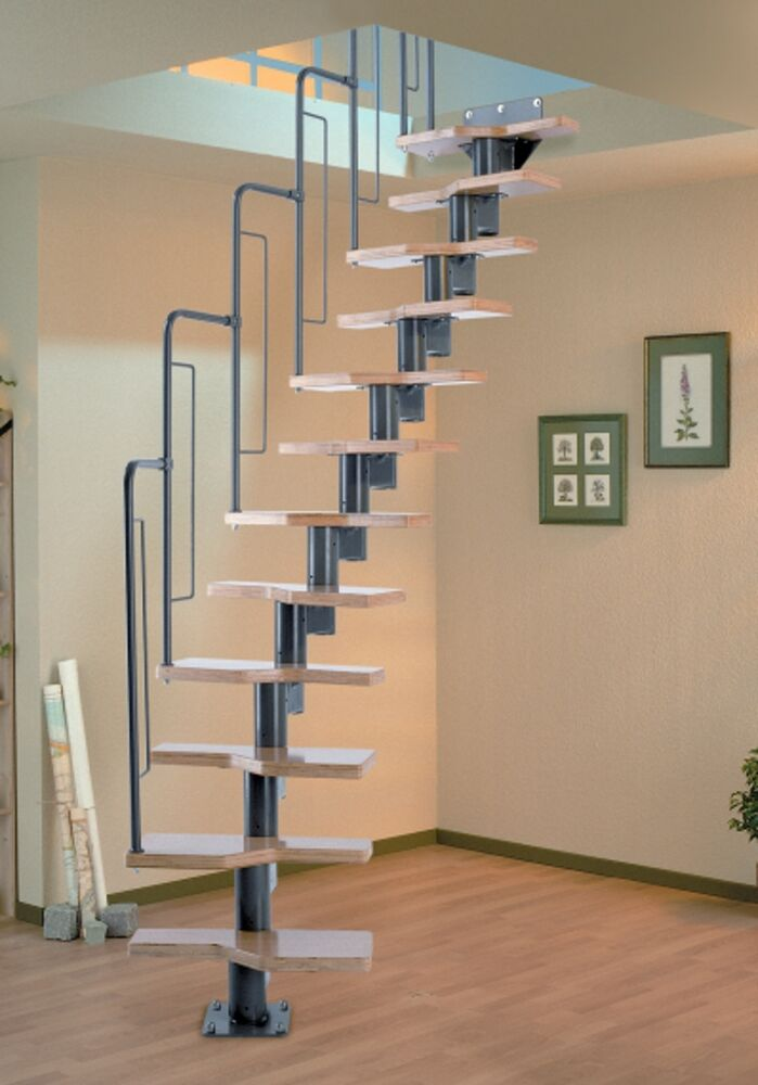 dolle graz space saver spiral loft staircase dark grey