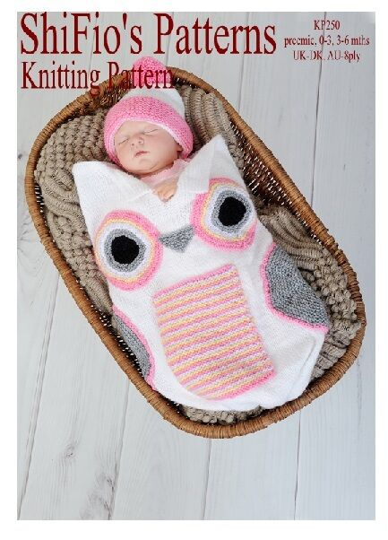 Knitting Pattern For Baby Owl Cocoon Papoose 3 Sizes 250