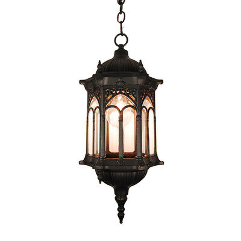 Hanging Light Fixture: TP Outdoor Ceiling Light Lighting Black Finished Hanging