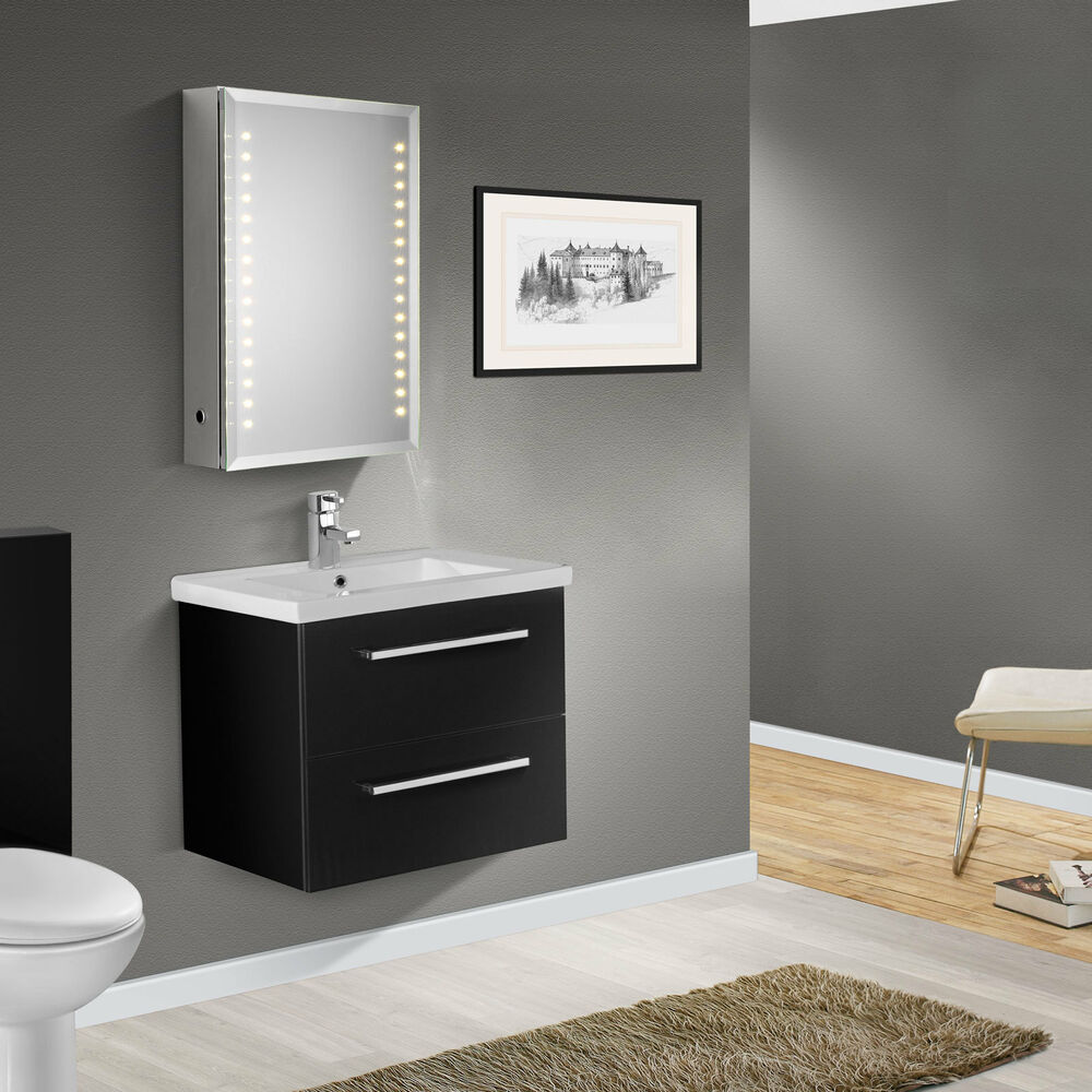 Bathroom Wall Hung Cupboards: 600mm WALL HUNG HIGH BLACK GLOSS FINISH BATHROOM CABINET