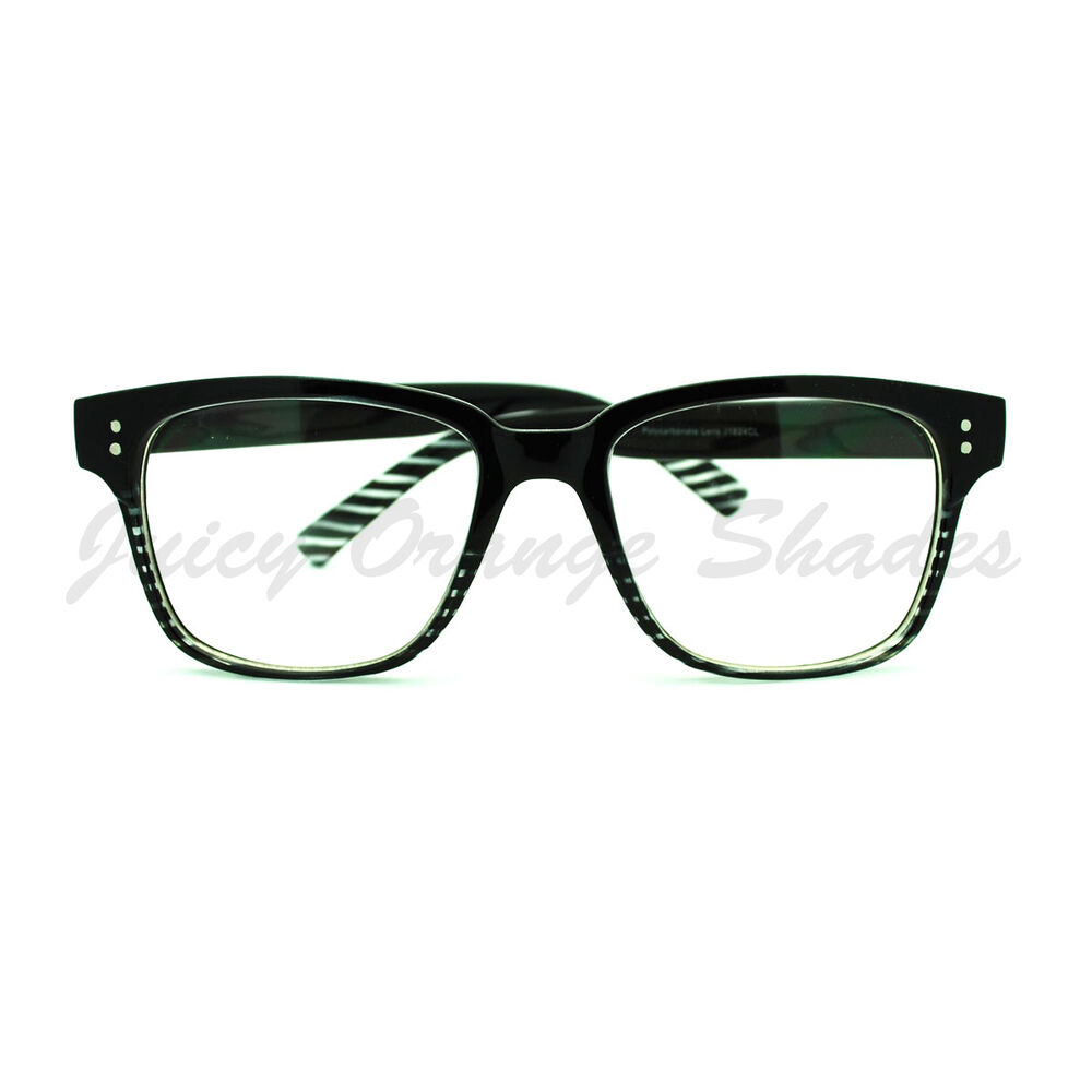 clear lens eyeglasses square horn rimmed nerdy fashion