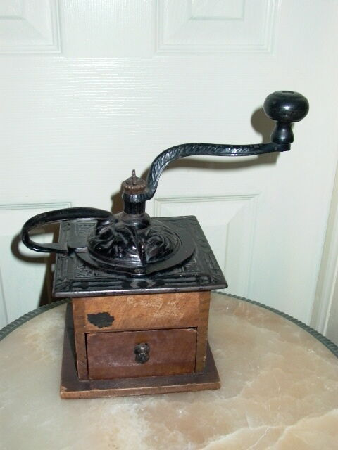 Antique dovetail wood cast iron coffee grinder ebay for Cast iron coffee