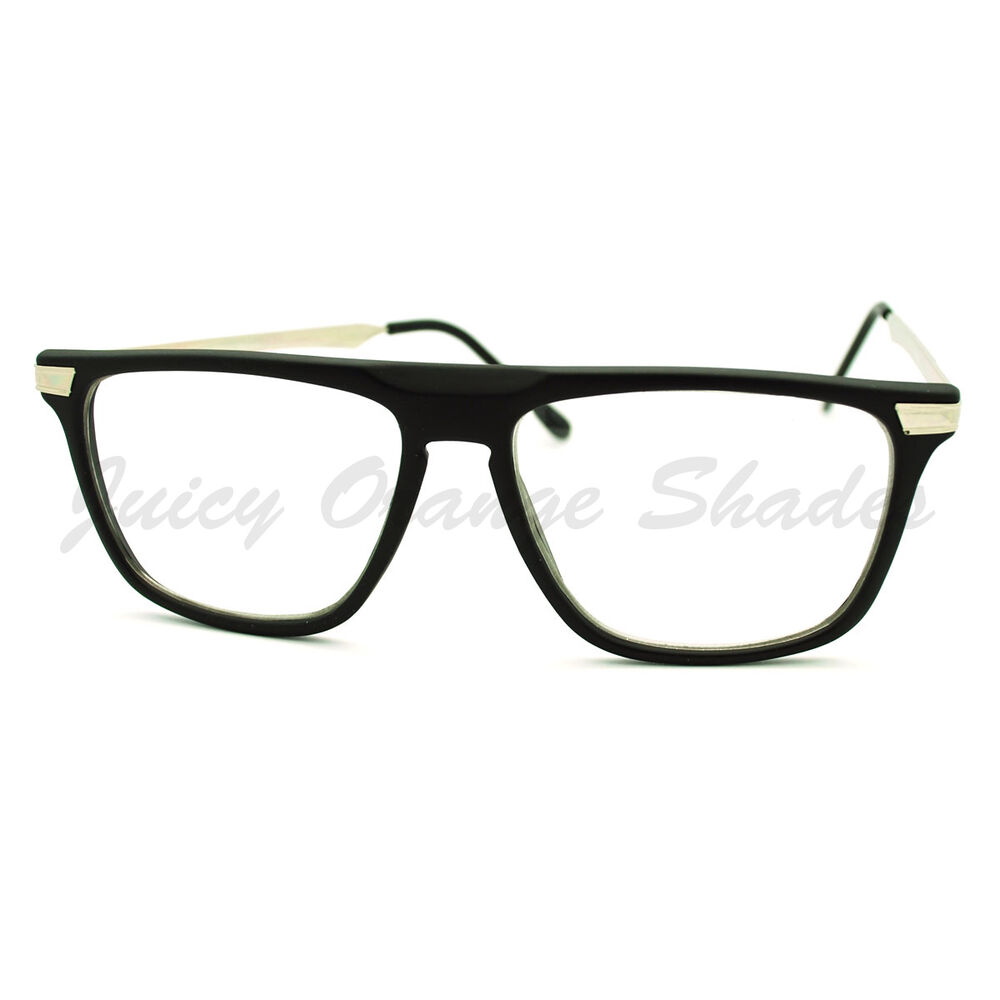 Square Framed Fashion Glasses : Clear Lens Glasses Flat Top Fashion Eyeglasses Thin Square ...