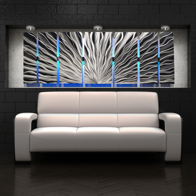 color changing led modern abstract metal wall art sculpture painting decor rgb ebay. Black Bedroom Furniture Sets. Home Design Ideas