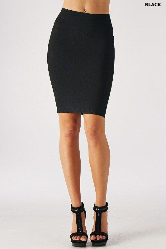 solid color bodycon slim tight fitted high waisted knee