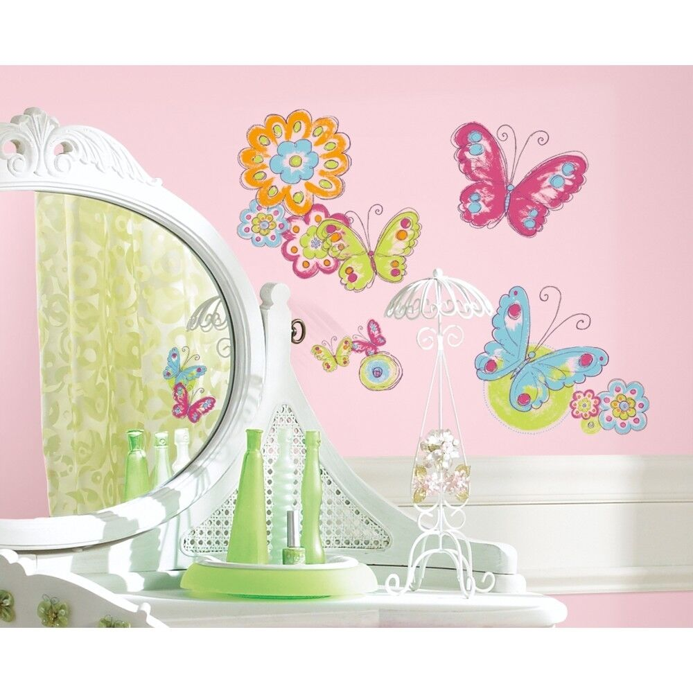 New butterflies flowers wall decals girls butterfly room for Baby room decoration wall stickers