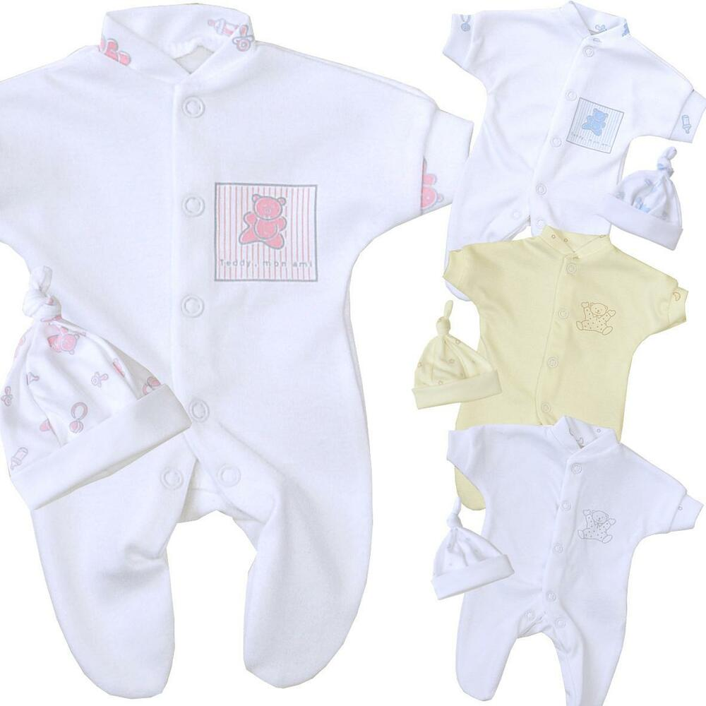 35c3050d2 BabyPrem Tiny Premature Baby Clothes Boys Girls Sleepsuit   Hat Set ...
