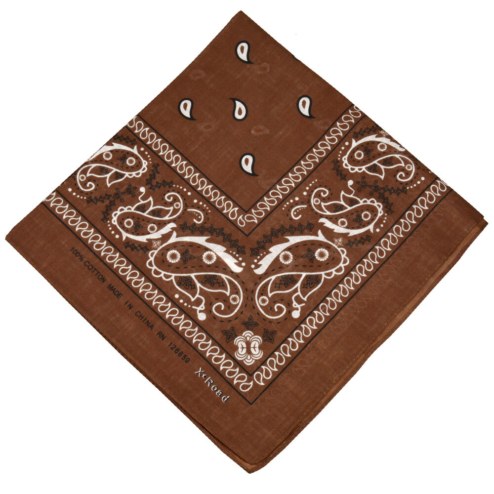 100 Cotton Paisley Bandanas Double Sided Quot Brown