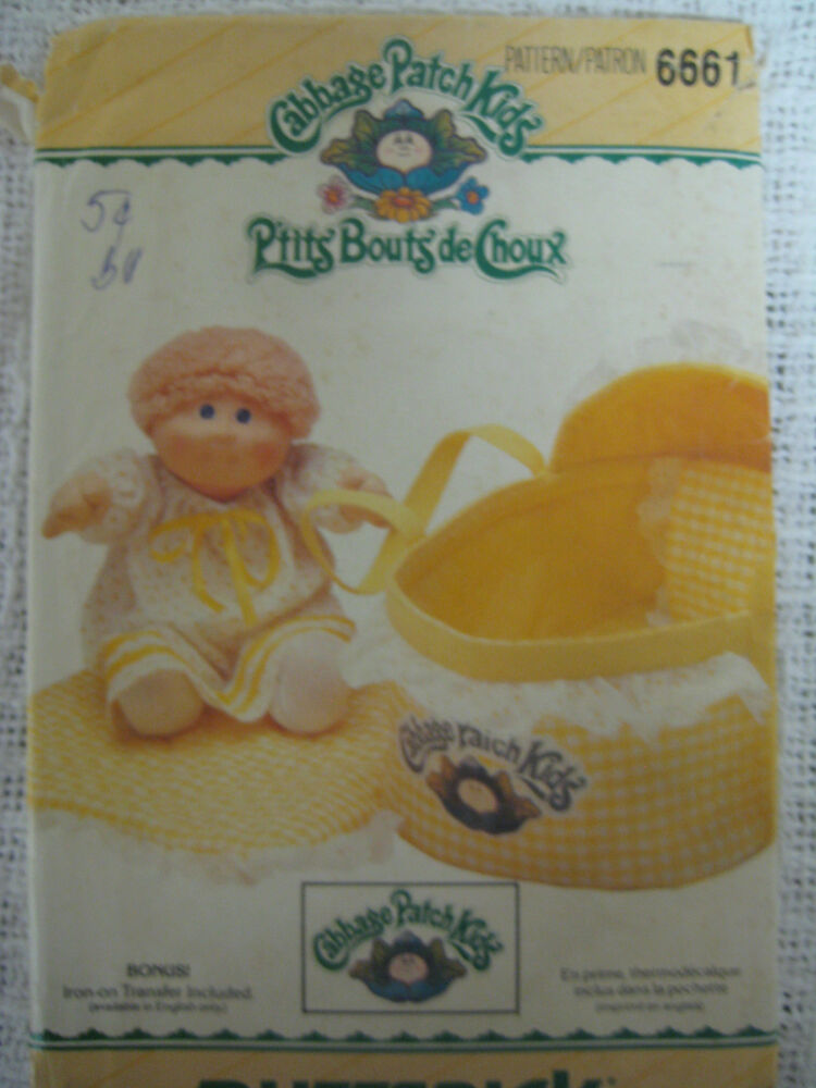 vintage butterick 6661 cabbage patch kids doll bed carrier