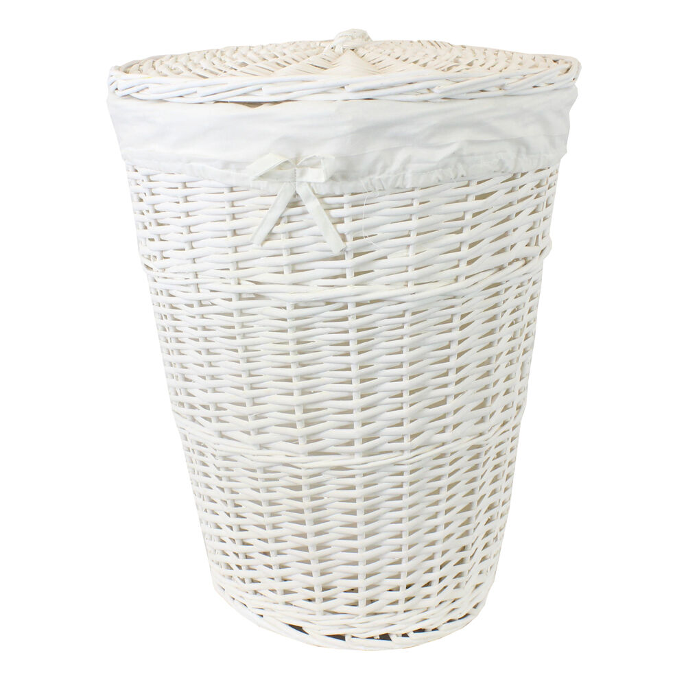 Jvl white willow wicker round linen laundry clothes basket with lid and lining ebay - Rattan laundry basket with lid ...