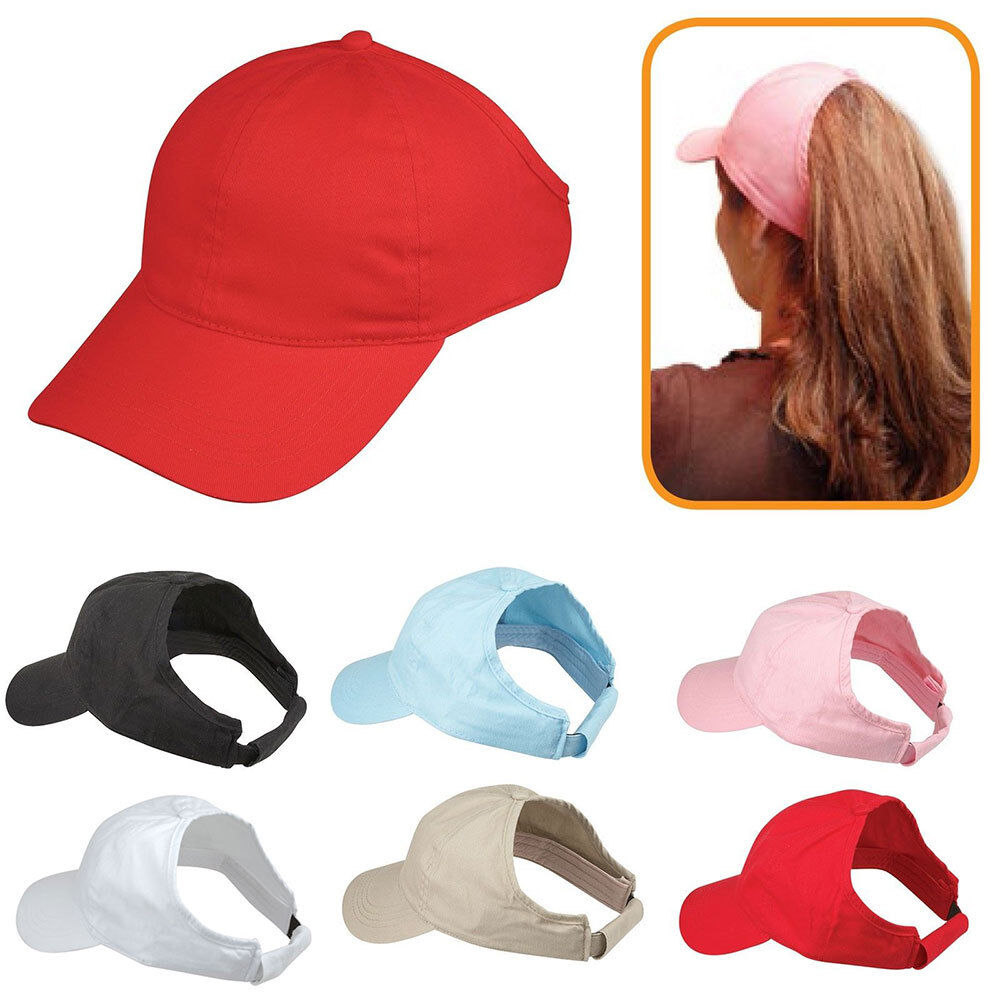Details about 100% Cotton Ponytail Visor Baseball Caps Hats Flex Elastic  Closure Womens Girls 260e2e3f83c