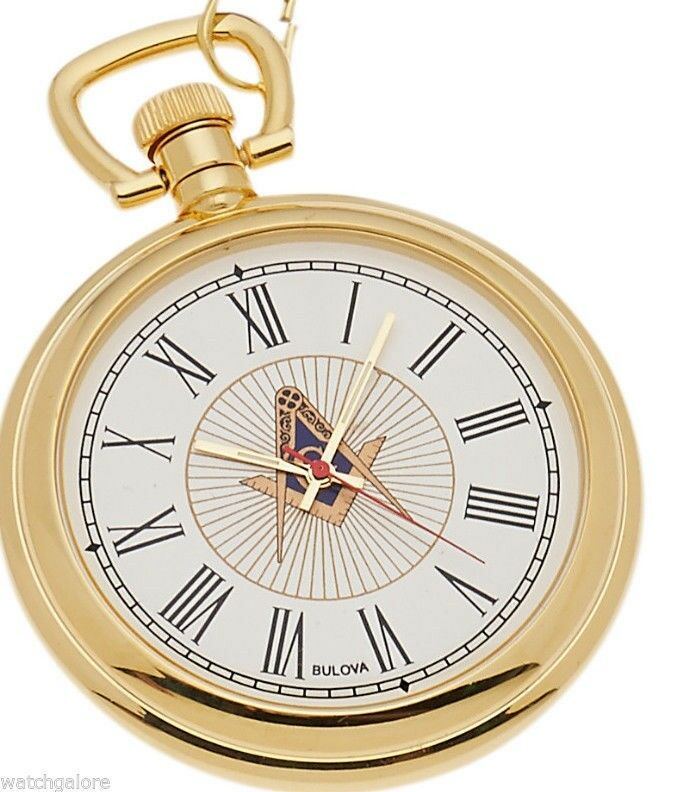 new bulova gold plated freemason masonic pocket and