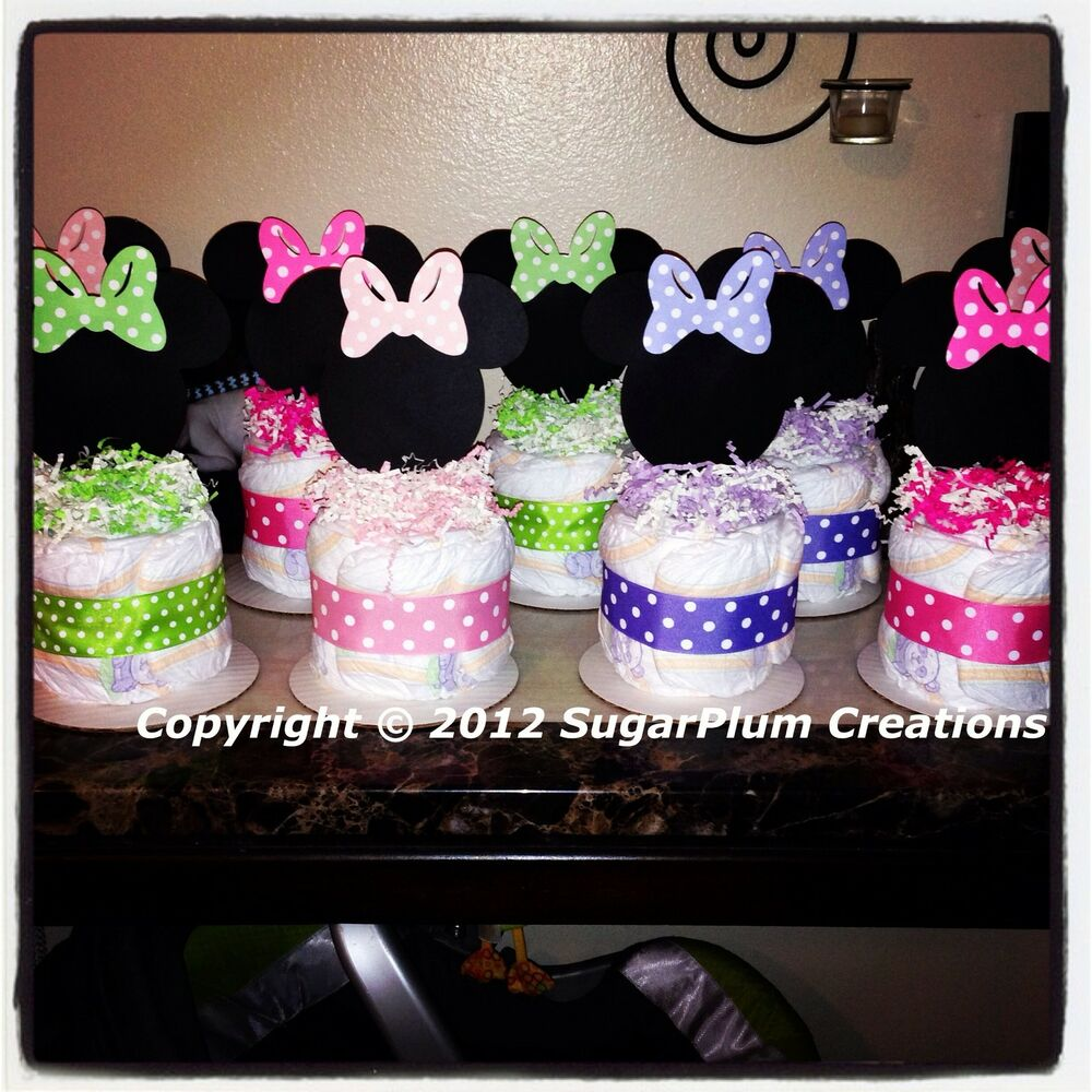 Minnie mouse diaper cake minis baby shower birthday for Baby shower centerpiece decoration