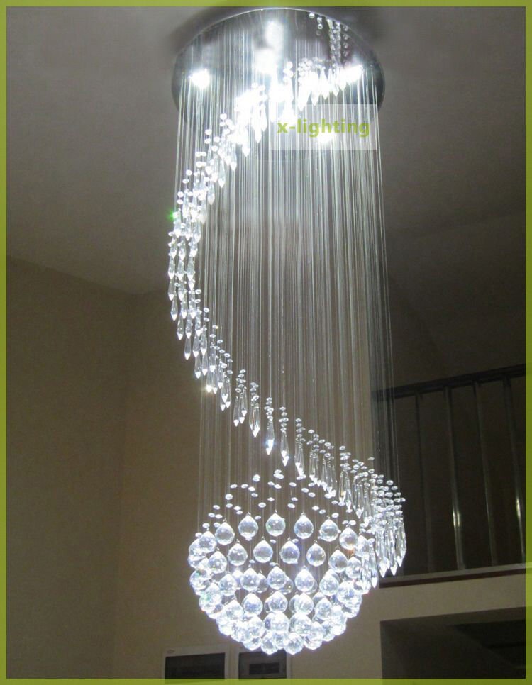 150cm Spiral Round K9 Crystal Ceiling Light Pendant Lamp