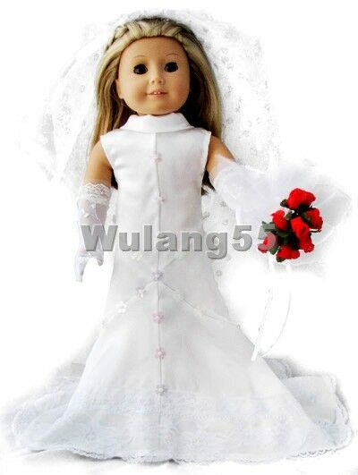 Doll clothes fits 18 39 39 american girl handmade wedding for American girl wedding dress