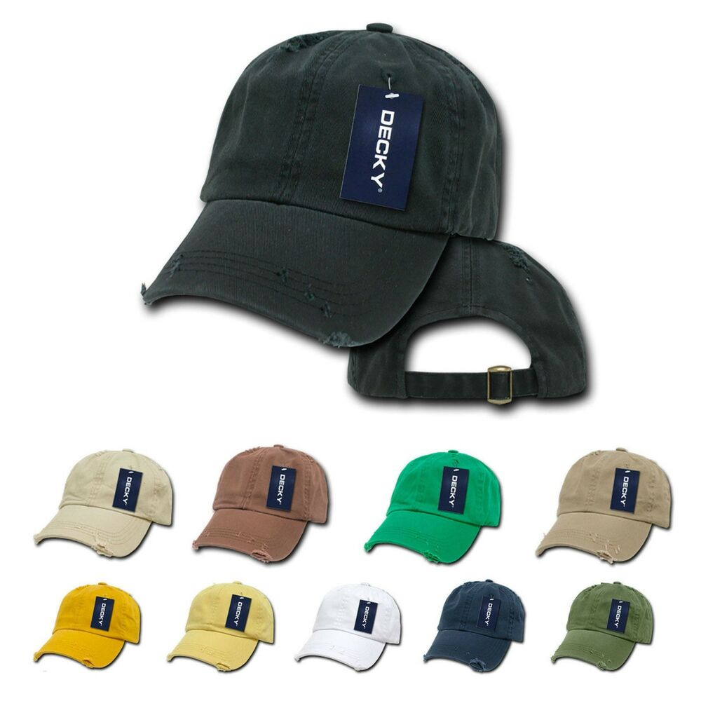 188afa0a3c822 Decky Washed Cotton Baseball Polo Hats Caps 6 Panel Vintage Frayed Pre- Curved