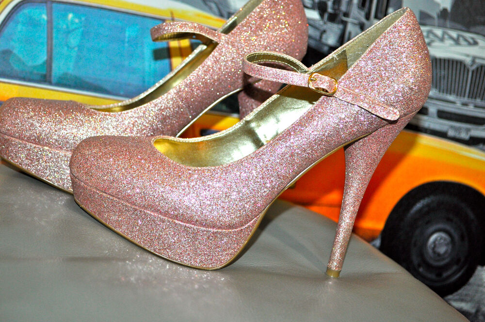 STEVE MADDEN P-VALERI LIGHT PINK ALL GLITTER PLATFORM MARY JANES ...