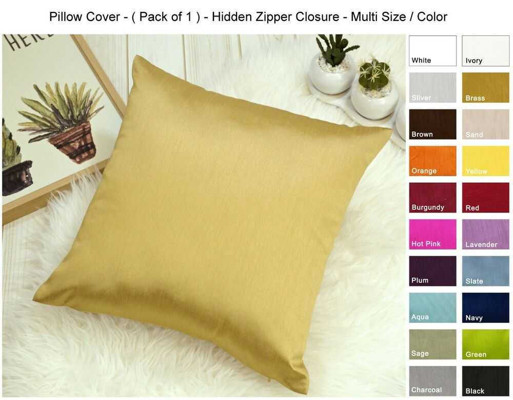 Solid Faux Silk Euro Sham Throw Pillow Cover Multi