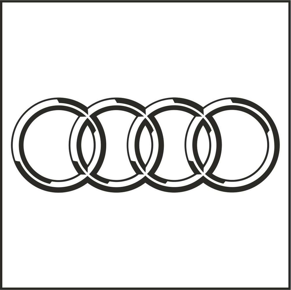 2pcs audi logo rings decal sticker m1 8 or 10 20 or 25cm a4 a6 a8 s4 s8 rs ebay. Black Bedroom Furniture Sets. Home Design Ideas