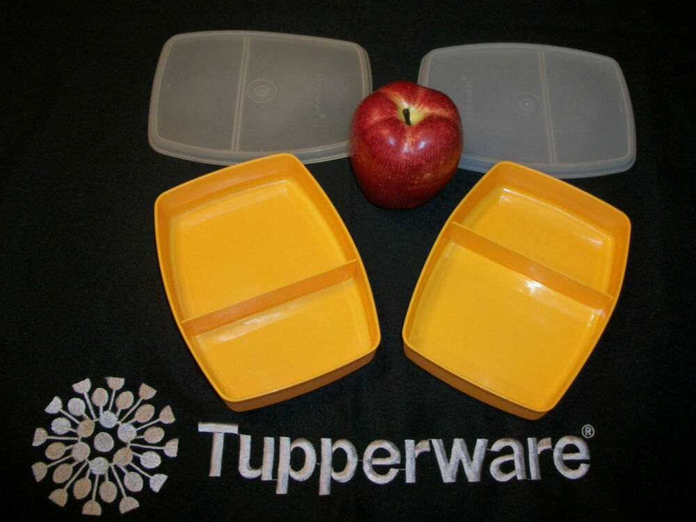 tupperware 2 maize gold packette divided lunchables nla lunch box picnic ebay. Black Bedroom Furniture Sets. Home Design Ideas