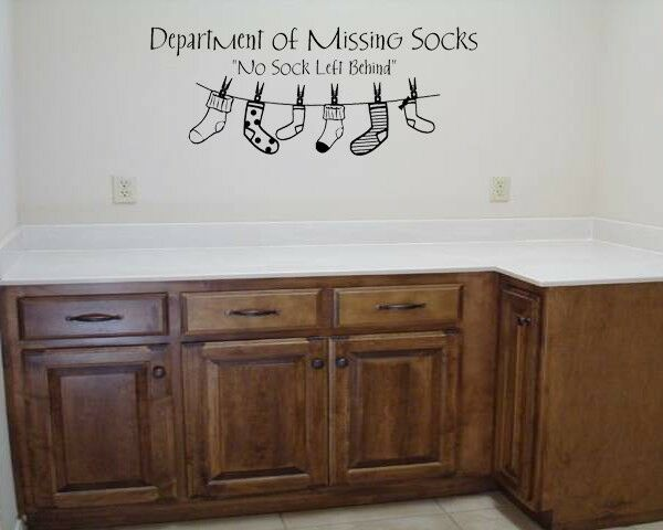 Department Of Missing Socks Laundry Lettering Wall Sticker