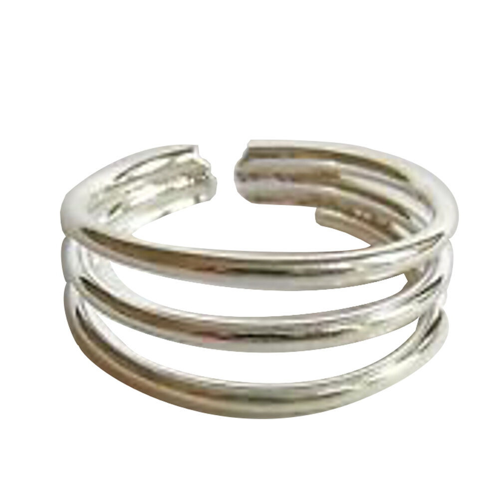 sterling silver 925 adjustable three rings toe ring